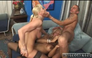 Raul enjoys a blonde girl and big tits shemale