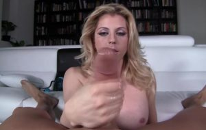 Sexy mature blonde tranny makes a big dick squirt