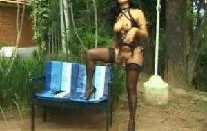 Tranny from brazil Aline posing outdoors for photoshoot