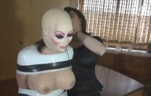 Transformation latex doll with mask