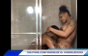Yandie Lee gets and gives head in the shower