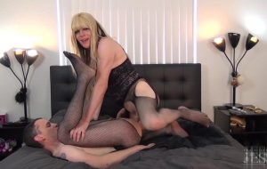 Taking Andrew's anal virginity with her big tranny cock