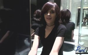 Barely-legal skinny tranny Emy Amethyst behind the scenes interview.