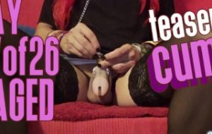 Day 27 of 26 – Uncage my clit with Mistress' Key and cum after 27 days in chastity (Teaser)