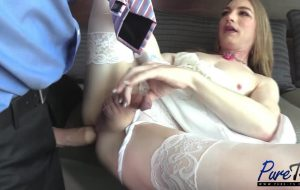 Submissive tranny sex doll Samantha gets a monster cock deep!