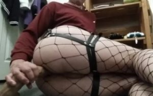 Trap in fishnets plays with tail and gets fucked